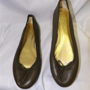 J CREW FLATS BALLET Green Leather MADE In ITALY
